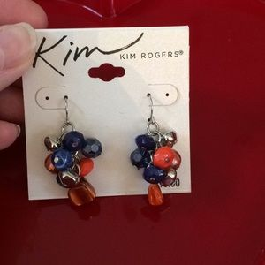 Blue and orange beaded earrings